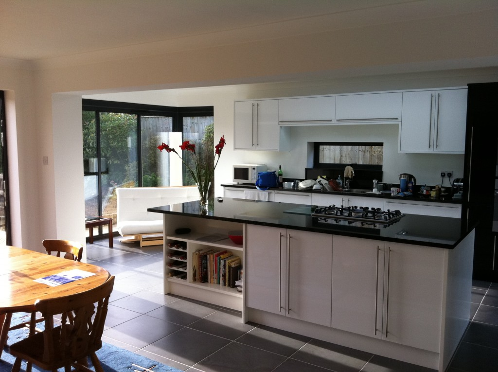 Interior shot of the open plan kitchen and dining area