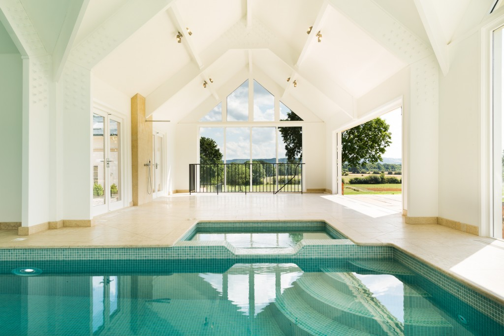 Interior shot of indoor swimming pool (the exterior is actually real!)