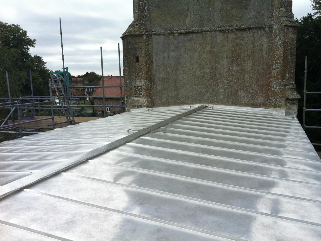 New terne coated stainless steel roof to existing Listed Church