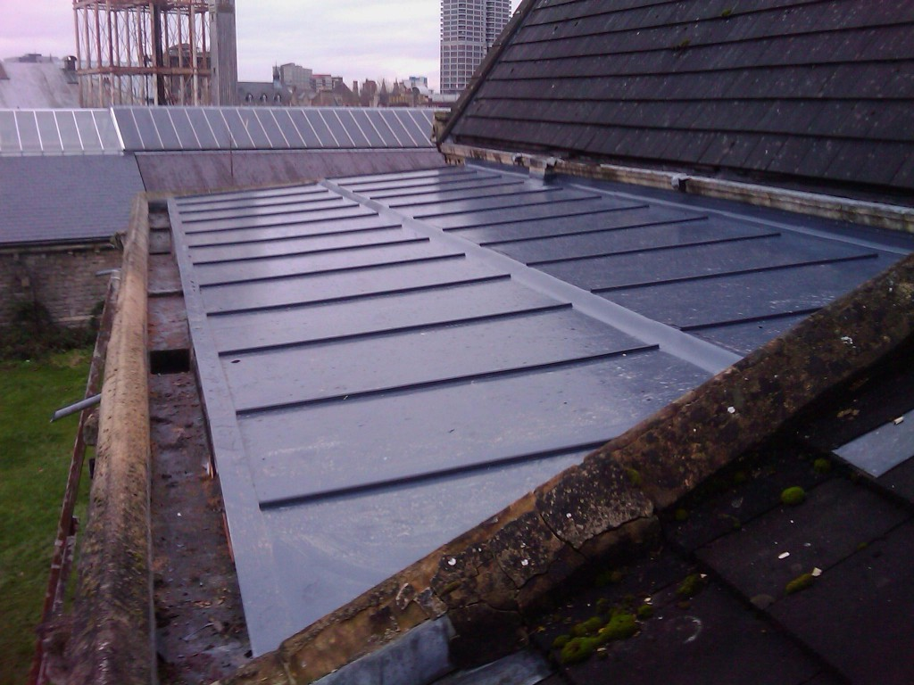 New sing ply roof to Listed Church Building