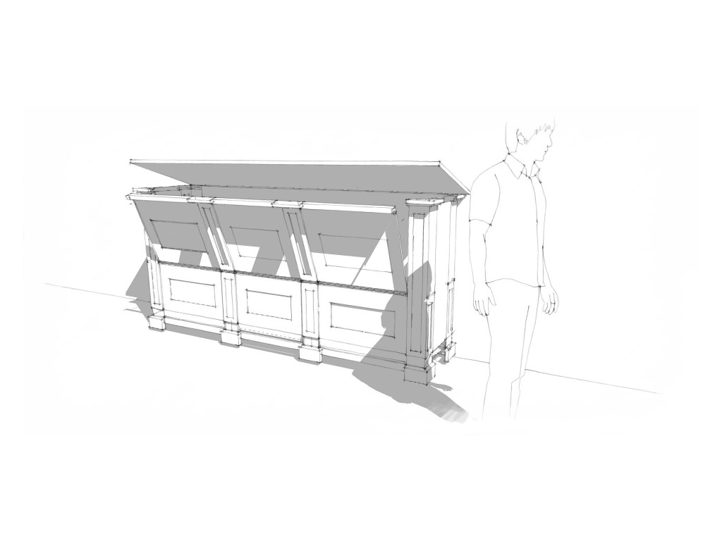 Concept sketch of bespoke joinery